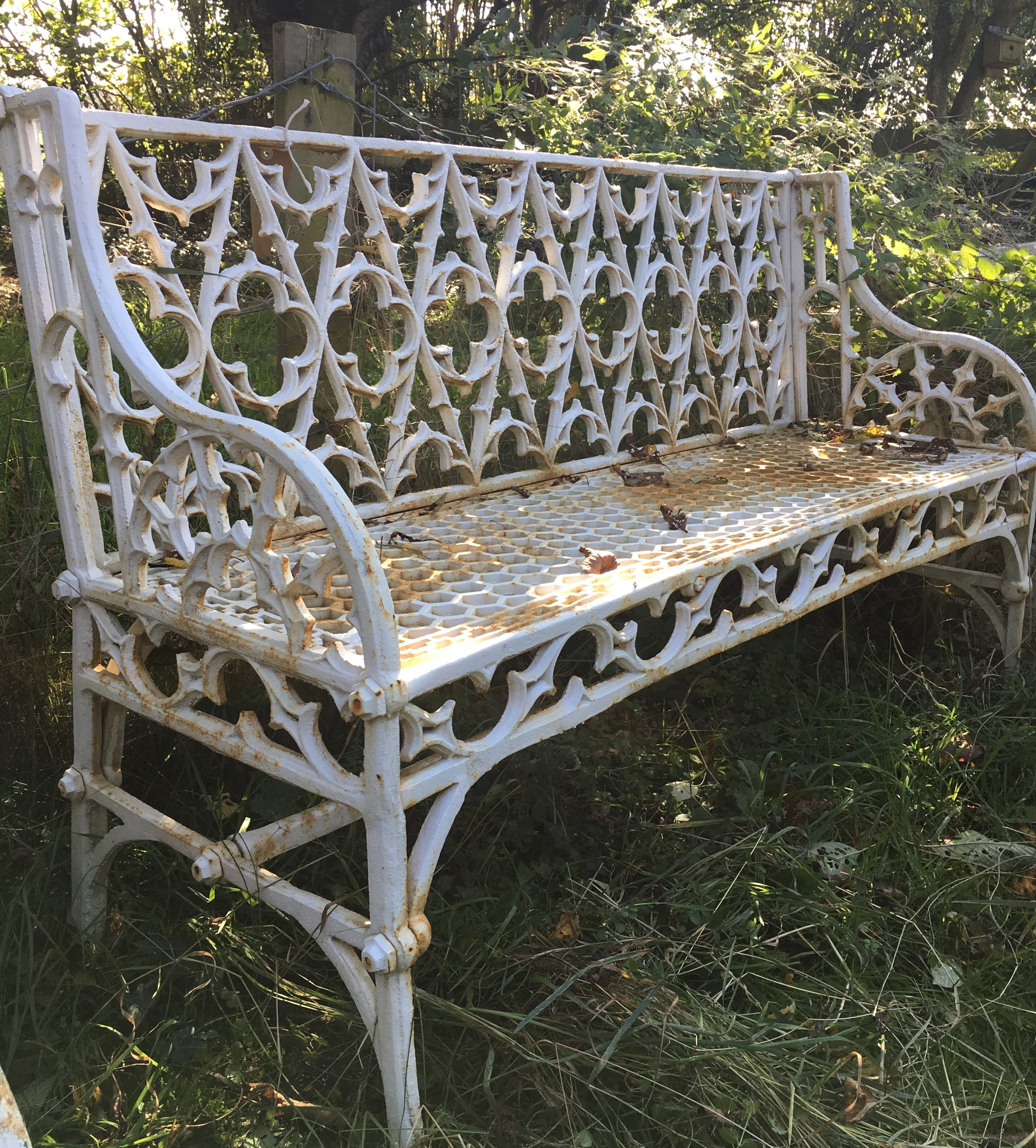 Magnificent Gothic Pattern Cast Iron Bench In Great Condition For Sale Caraccident5 Cool Chair Designs And Ideas Caraccident5Info