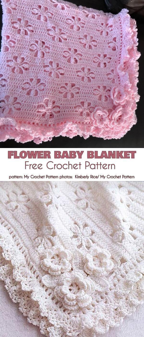 Flower Baby Blanket Free Crochet Pattern #babyblanket