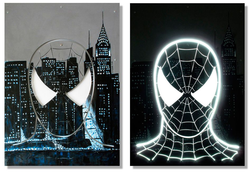 Spiderman: 1000x700x35mm. Materiales y técnica: Panel mdf 16mm. Chapa de acero 3mm. Led. Pintura acrílica.