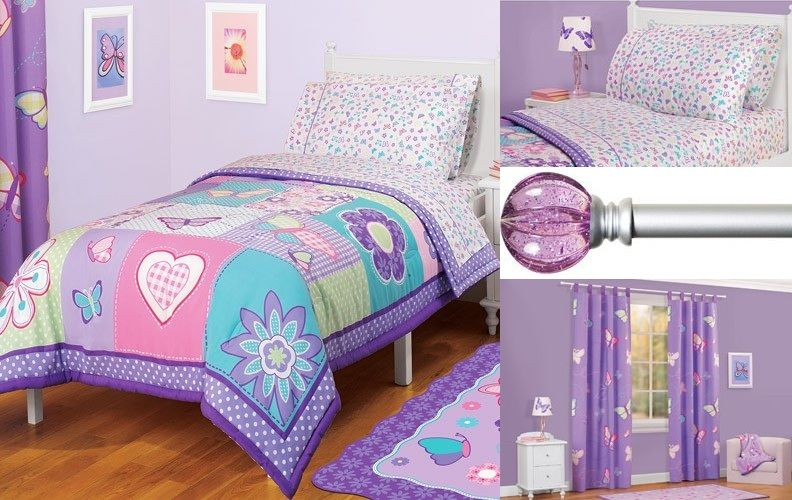 Butterfly Bedroom Decorating Ideas: Bedding: Butterfly Decor With Purple Curtain Rod