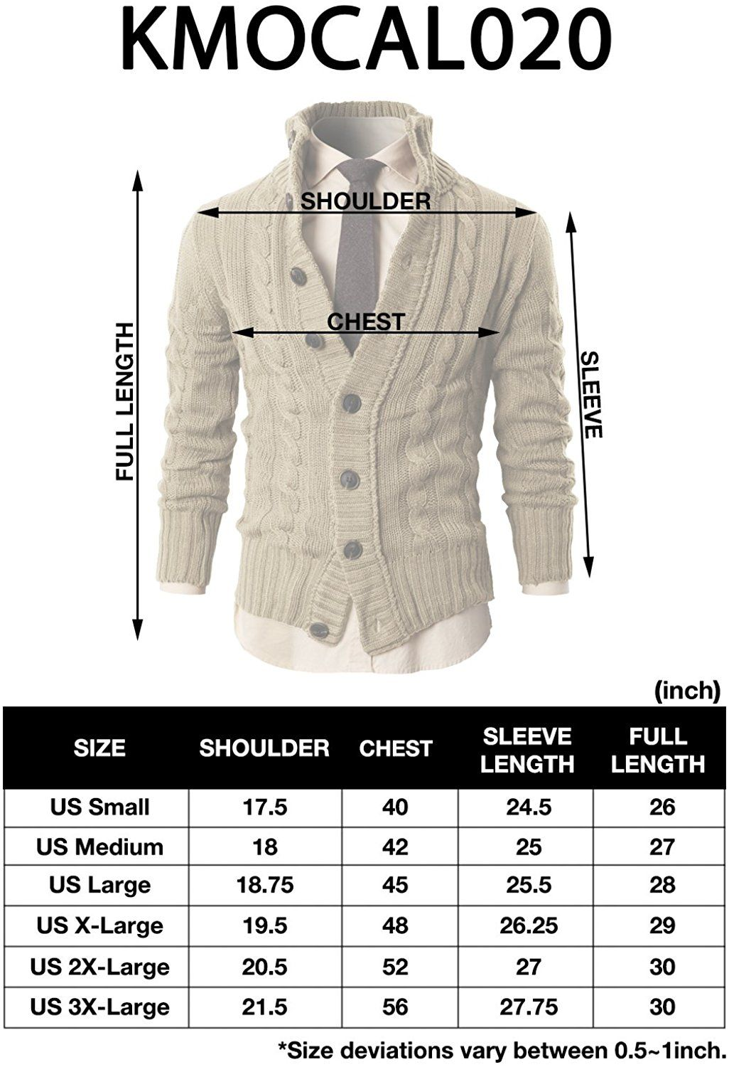 H2H Mens High-neck Twisted Knit Cardigan Sweater with Button Details ...