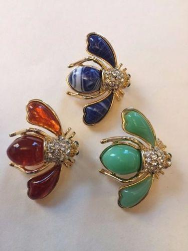 Set-of-Three-Joan-Rivers-look-of-Semi-Precious-Bee-Pins