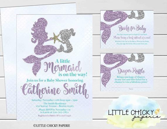 Mermaid Baby Shower Invitation Bundle, Under the Sea Baby Shower, Diaper Raffle Card, Book Request, Digital Invitation