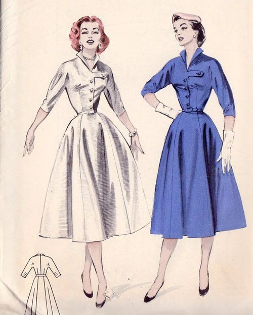 1950s shirtwaist dress sewing pattern illustrations.