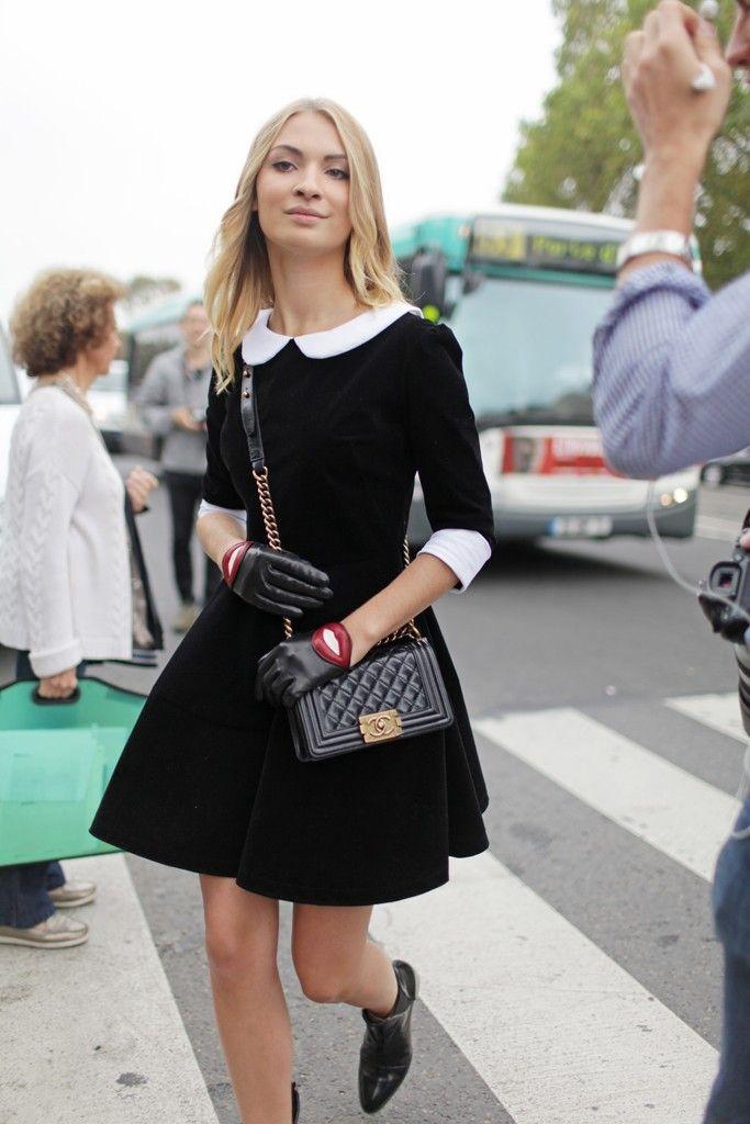 050e8c8d3c7 Paris Fashion Week street style  Photo by Kuba Dabrowski . Leather gloves  and black dress Peter Pan Collar ...