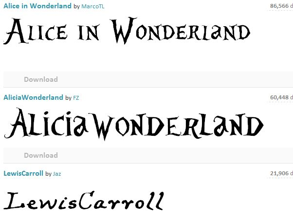 Alice in Wonderland style fonts. Perfect for Alice-themed