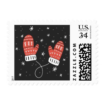 Cute Red Mittens Holiday Sticker Postage - christmas cards merry