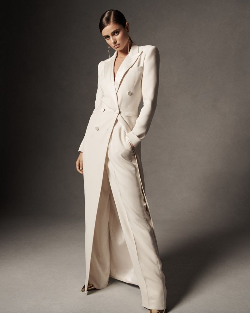 236cc0454f821f Model Taylor Hill poses in tuxedo gown from Ralph Lauren spring 2019  collection