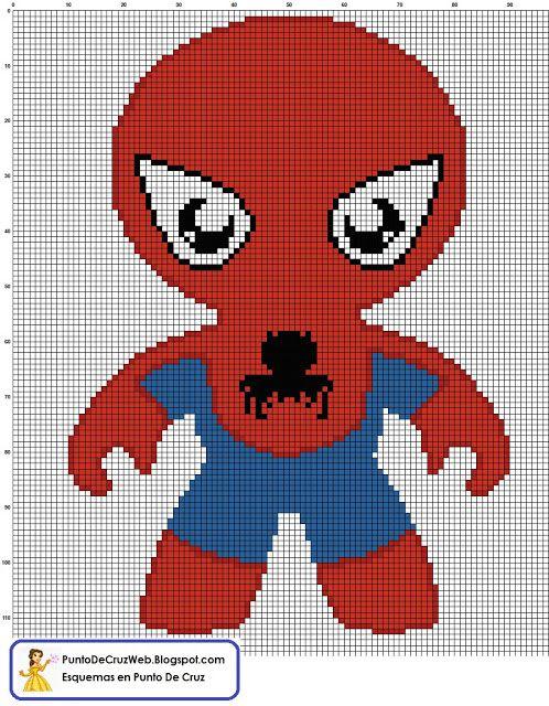 Bebe Spiderman Un Super Heroe en Punto de cruz. http//www ...