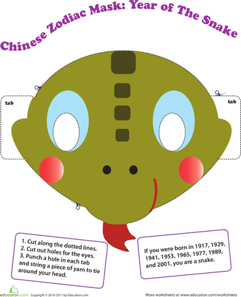 make a chinese zodiac mask year of the snake - Chinese New Year 1977
