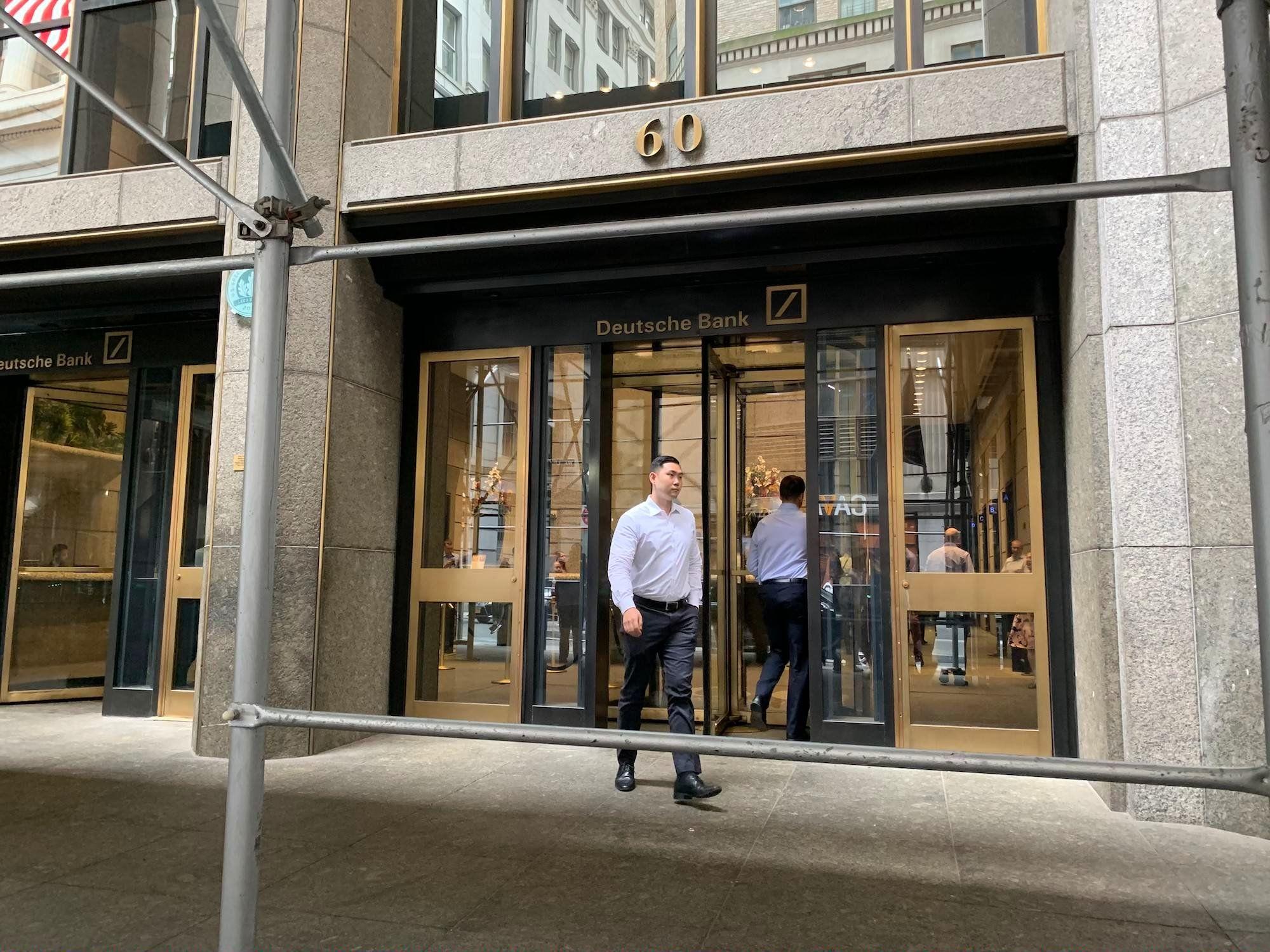 We stood outside Deutsche Bank's New York office as staff