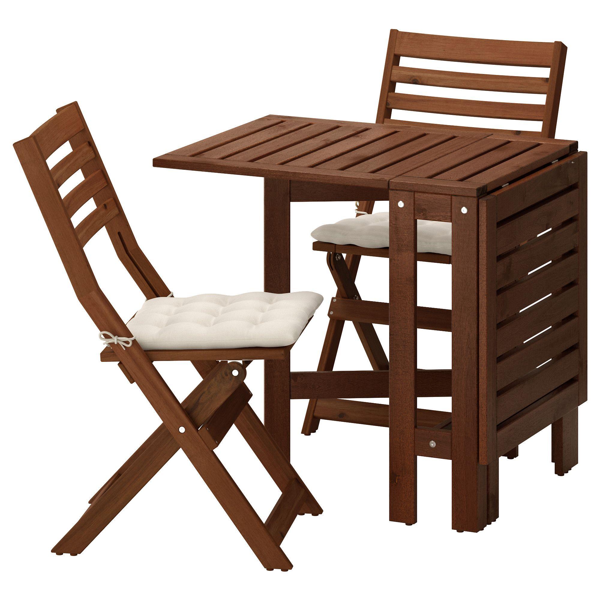 ÄPPLARÖ, Tisch+2 Klappstühle/außen, braun las., beige Jetzt ...