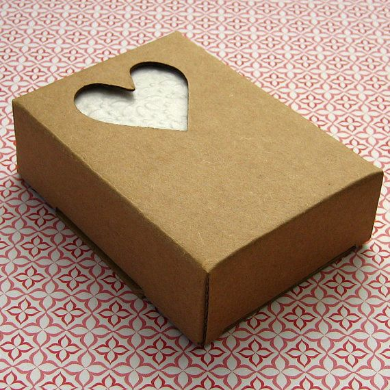 10 Kraft Boxes Soap Box With Heart Window 2 5 8 X 3 3 4 X 1 1 8 Inches 7 75 Via Etsy Artisanat
