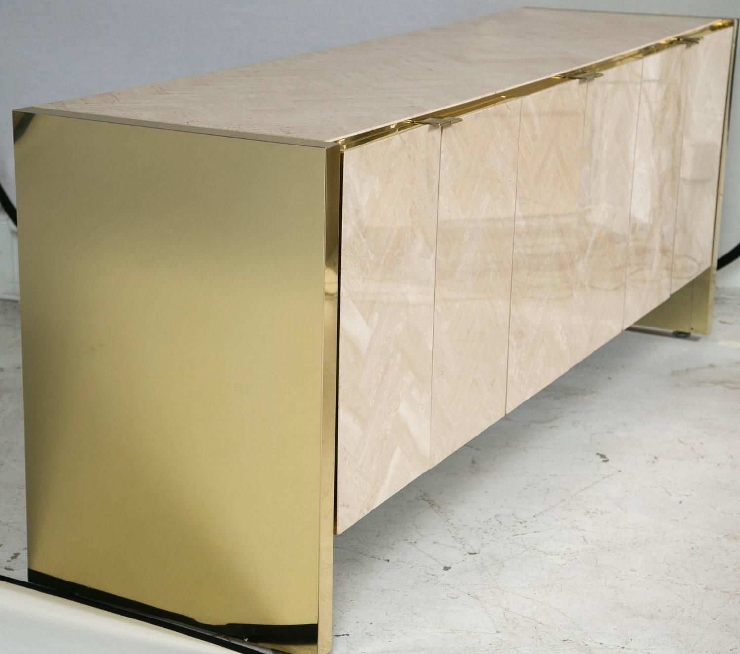 Merveilleux Polished Herringboned Travertine And Brass Credenza By Ello Furniture 3