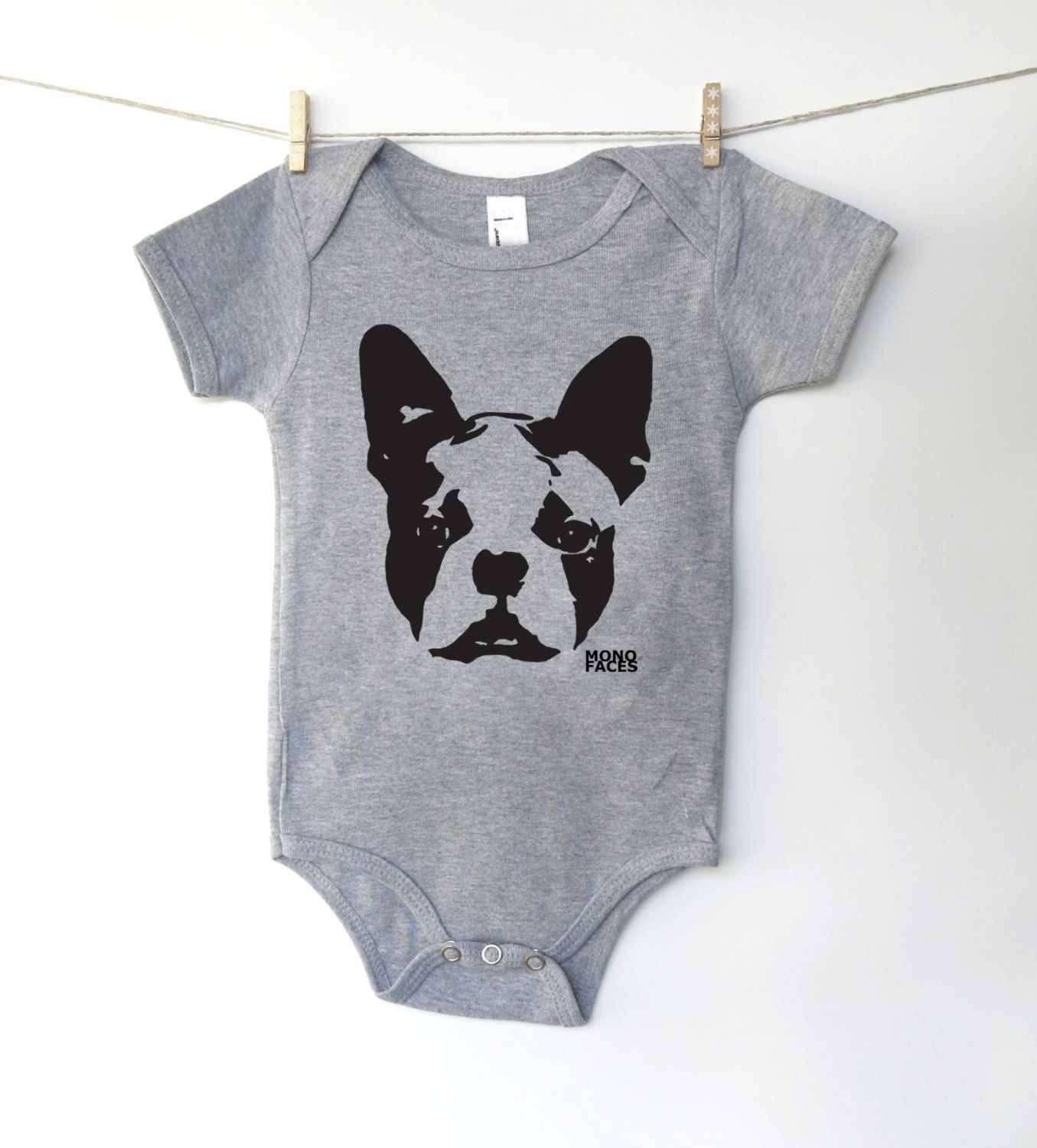 42bfa09f3 Boston Terrier baby onesie, hipster baby boy girl clothes, personalized rad  baby clothes, dog lover gift, onsie with dog, first Mothers day by  MONOFACES on ...