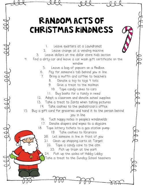 random acts of kindness printables DIY Random Acts of Christmas - countdown calendar template