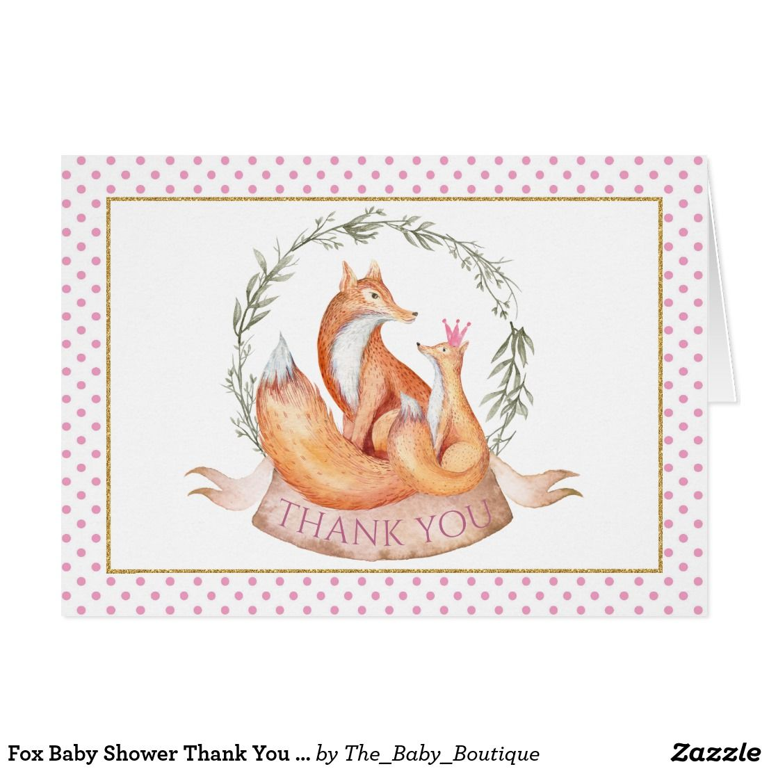 Fox baby shower thank you cards baby shower