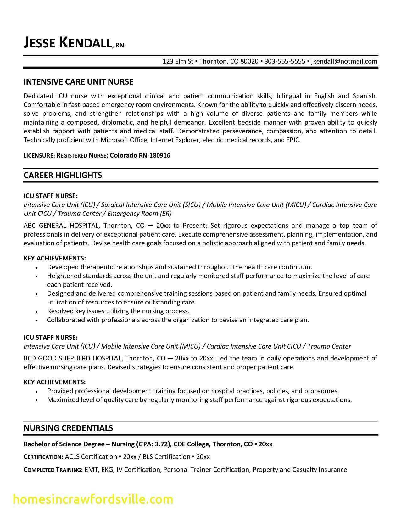 Fresh Registered Nurse Resume Nursing Resume Examples Nursing