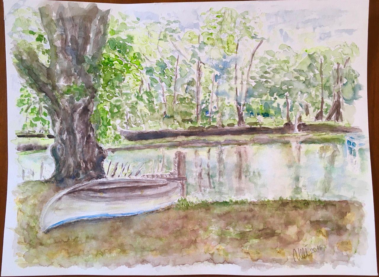 Am Teich Aquarell, 30 x 40 cm, auf 310 g Hahnemühle