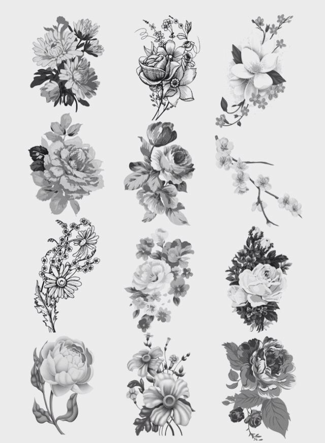 Pin By Masyn Evans Clements On Skin Art Vintage Floral Tattoos Flower Tattoos Tattoo Set