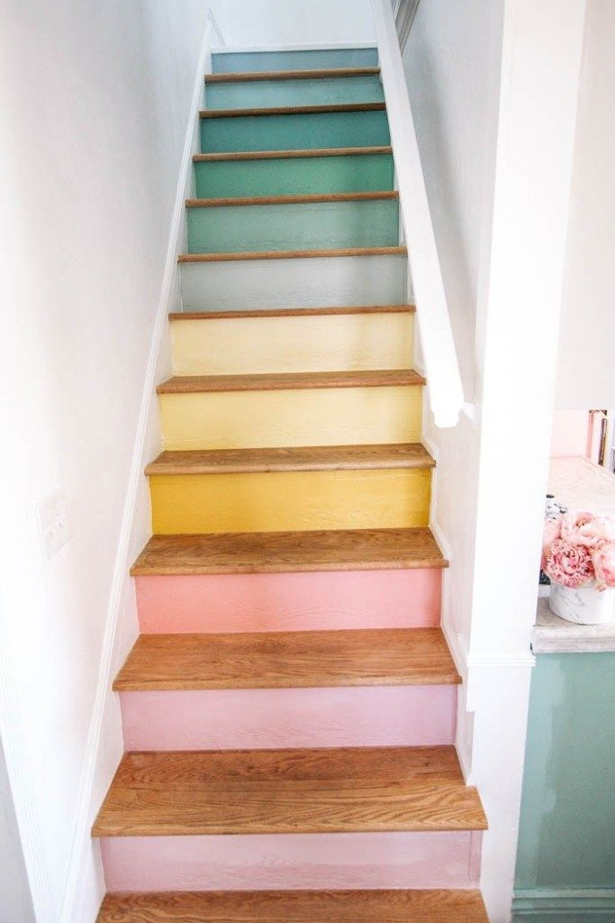 Reveal! Rainbow Stairs - at home with Ashley