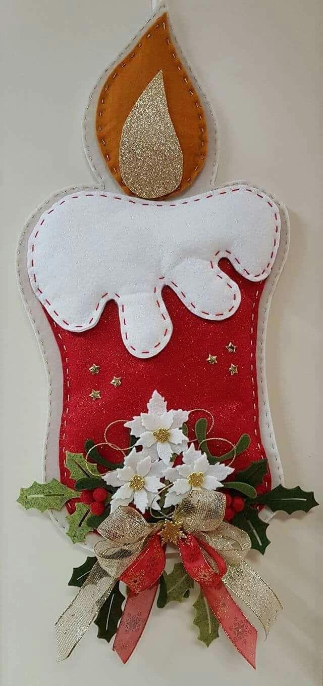 Vela Patchw Feltro Natal Artesanato De Natal Enfeites De Natal