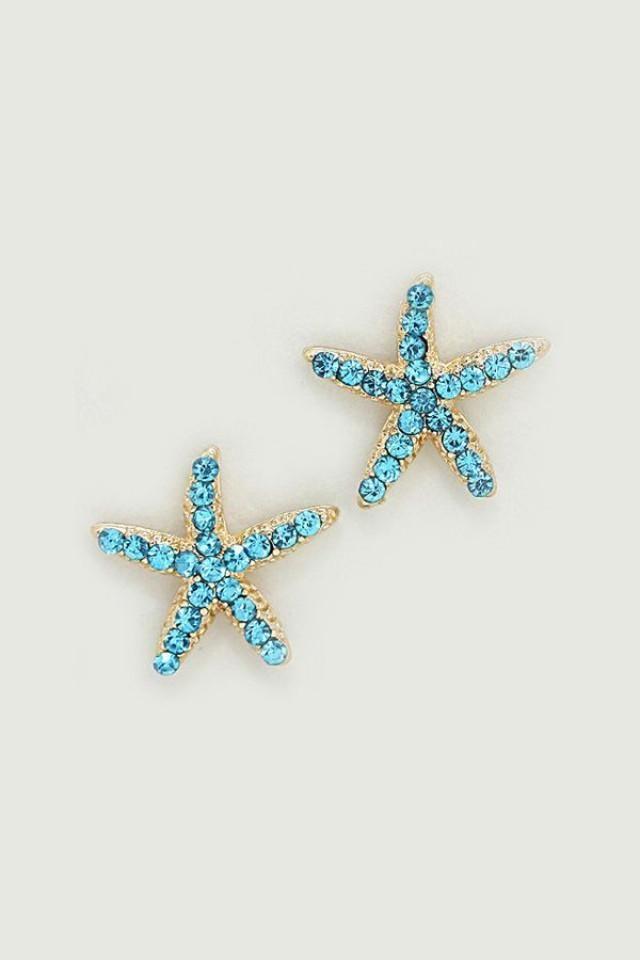 Starfish Earrings In Greek Blue