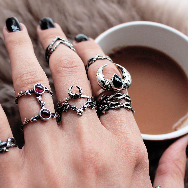 ☩♰☩ Wild stacks for wild hearts ☩♰☩ shopdixi.com ☩♰☩ #jewelry #jewellery #bohojewels #magic #goth #grunge#lookbook #thorn #sterlingsilver #ring #onyx #garnet
