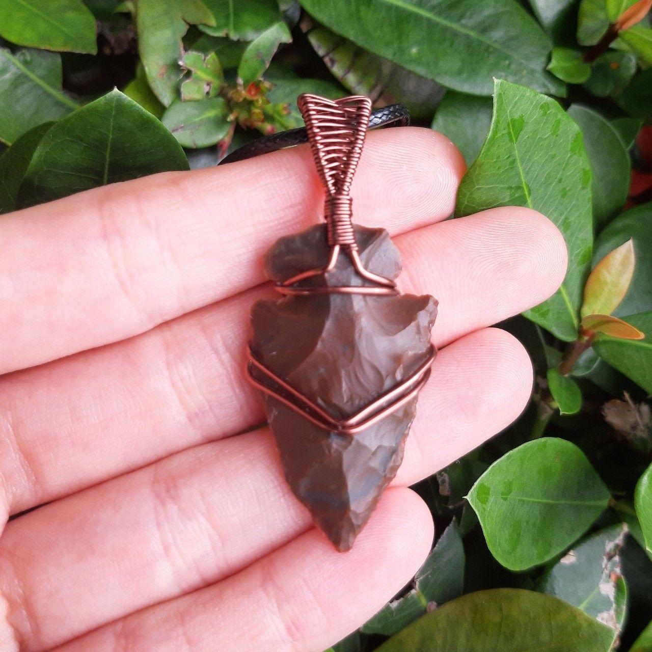 Jasper Arrowhead artfully set into a copper hand forged art wrap pendant