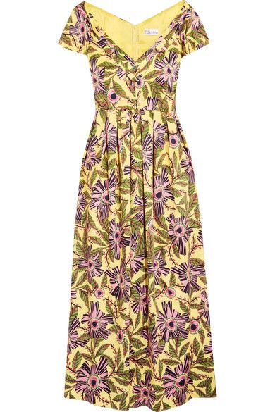 8001357d8f REDValentino - Pleated Floral-print Cotton-blend Midi Dress - Yellow ...