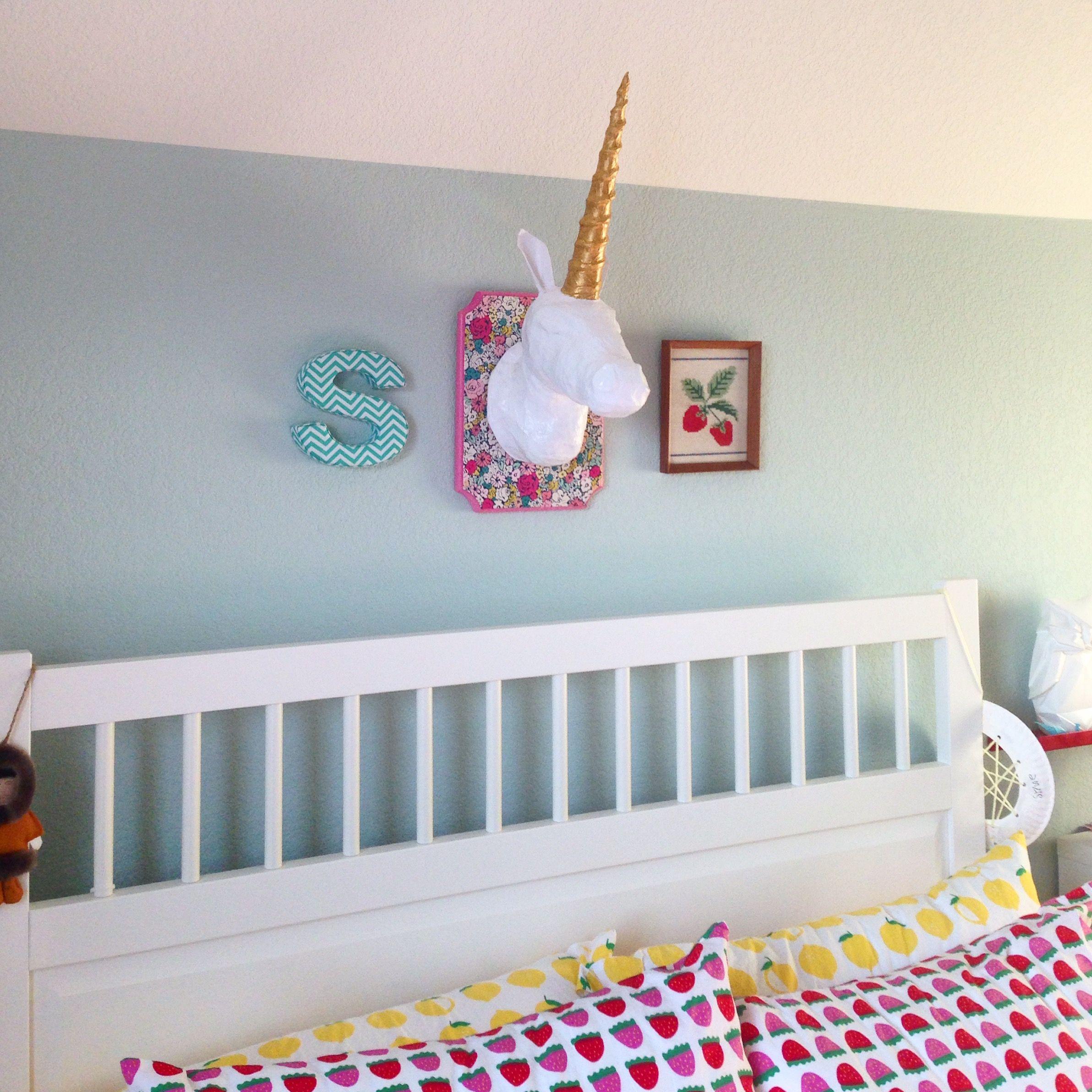 Palladian blue Hemnes Ikea bed Lil Blue Boo paper mache unicorn