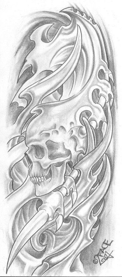 Biomechanical Tattoo Line Drawing : Bio mecanic skull drawings mechanical tattoo for
