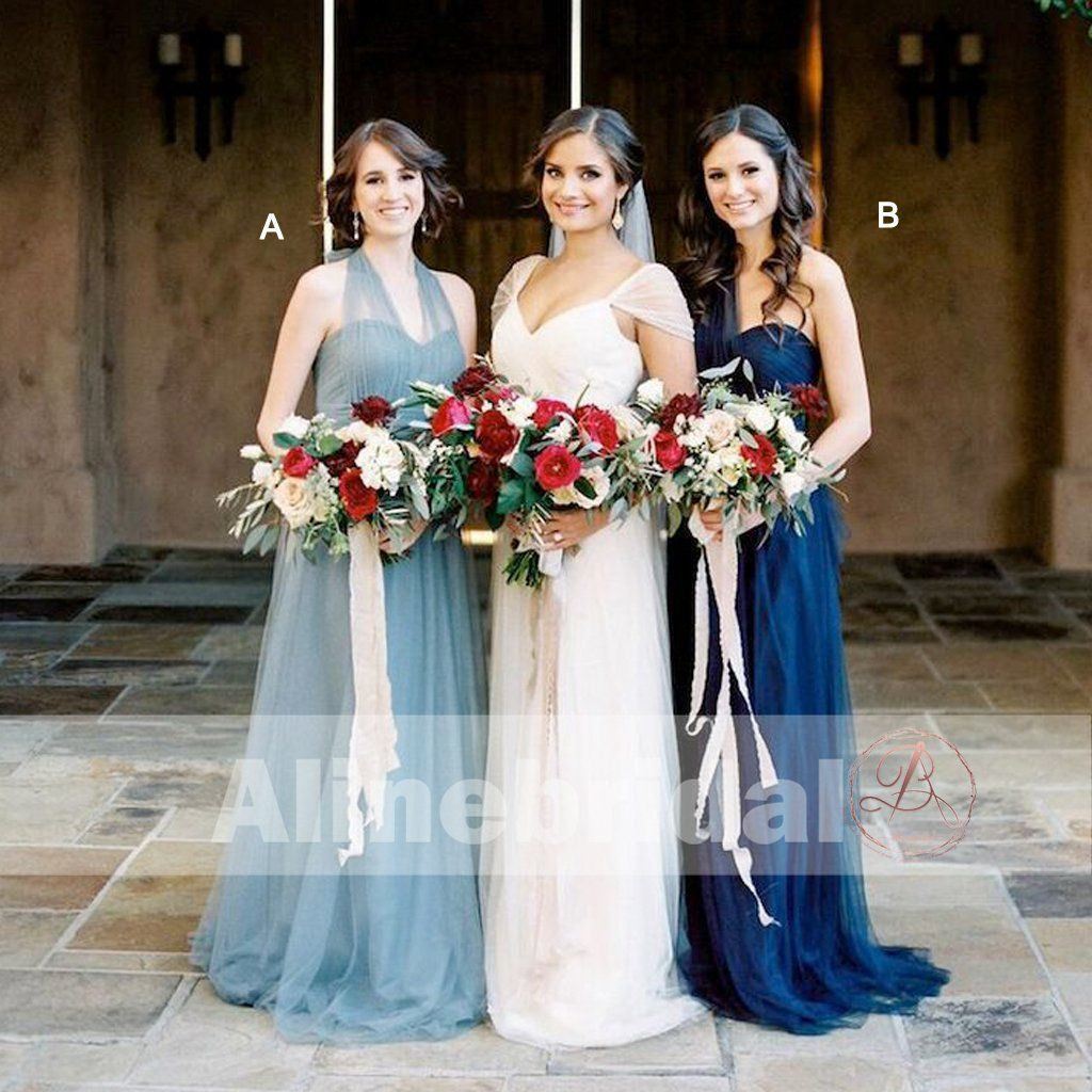 52e2c02a567 Mismatched Blue Tulle Sweetheart Long A-line Bridesmaid Dresses ...