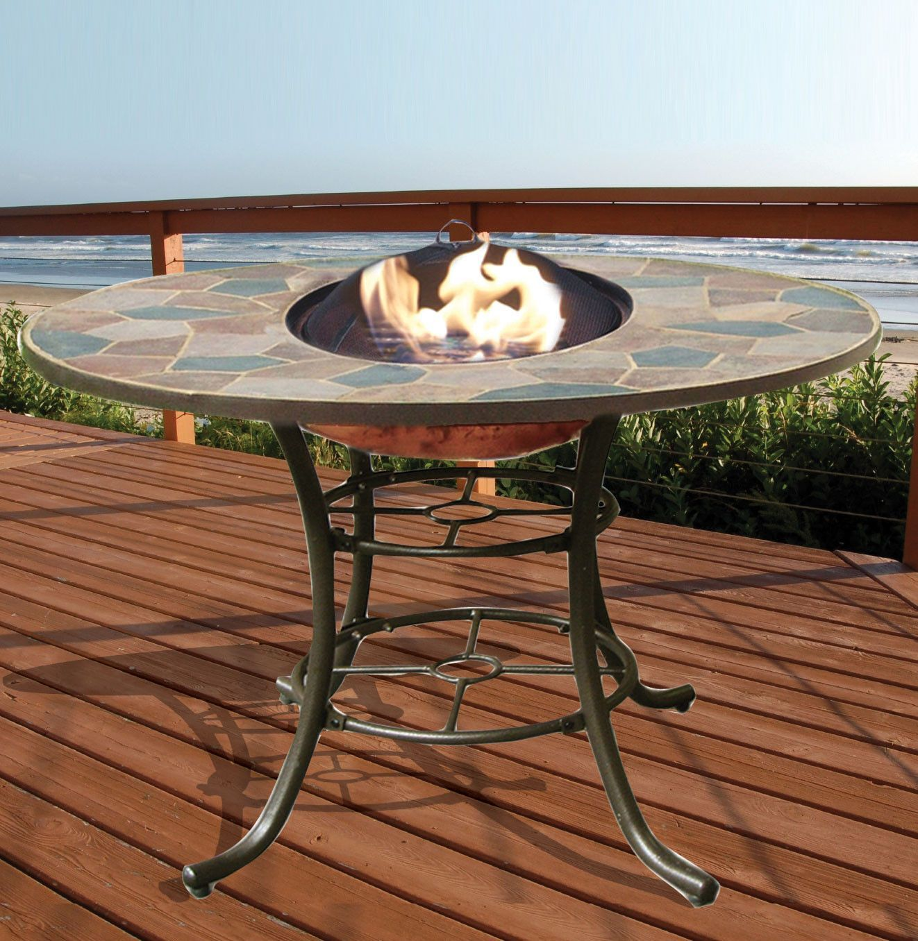 Deeco Rock Canyon 3 In 1 Outdoor Dining Table With Fire Pit And Ice Basin Outdoor Dining Table Concrete Dining Table Outdoor Fire Pit Table