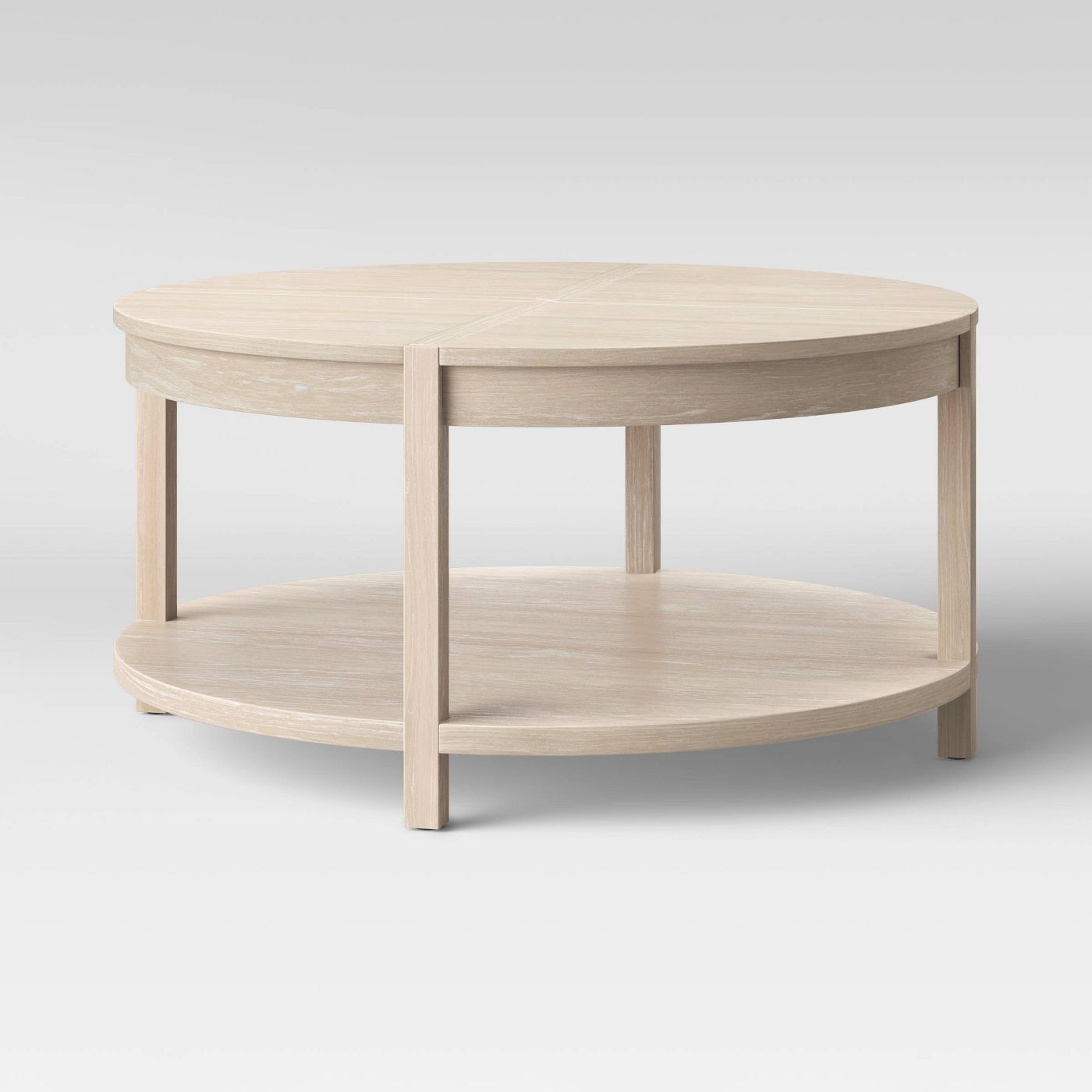 Porto Round Wood Coffee Table Bleached Wood Project 62 In 2021 Round Wood Coffee Table Coffee Table Coffee Table Wood [ 1400 x 1400 Pixel ]