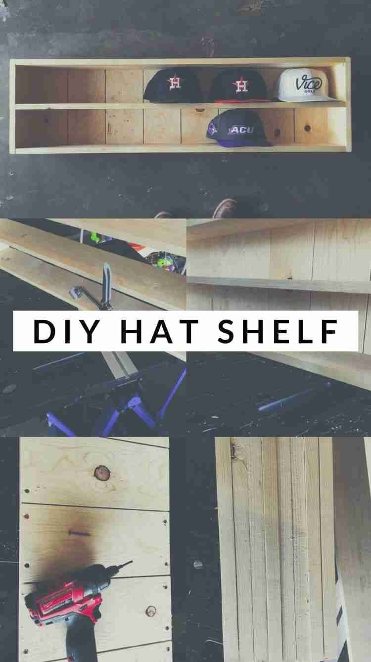 Get free plans for this easy woodworking project.  Store all your hats on display with this cool shelf.  #homedecor #diy