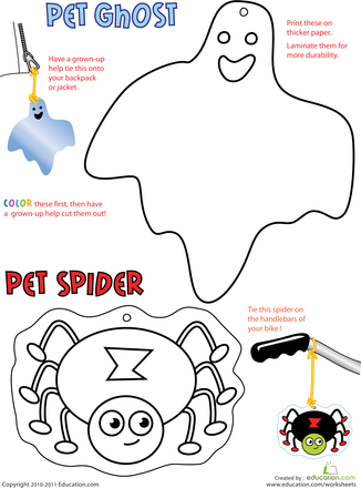 halloween cutouts spider and ghost halloween worksheetspreschool - Halloween Worksheets Preschool