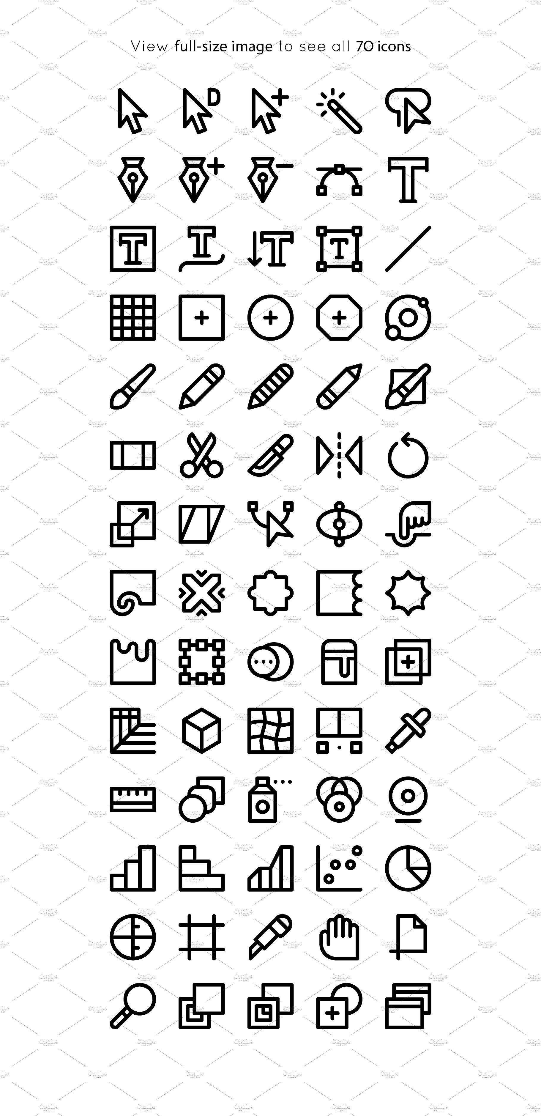 Bold Adobe Illustrator Tool Icons
