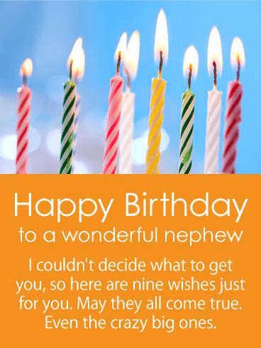 Nine Wishes Happy Birthday Card For Nephew Birthday Greeting Cards By Davia Birthday Card For Nephew Happy Birthday Cards 21st Birthday Wishes
