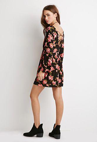 Rose Print Babydoll Dress   Forever 21 - 2000078089