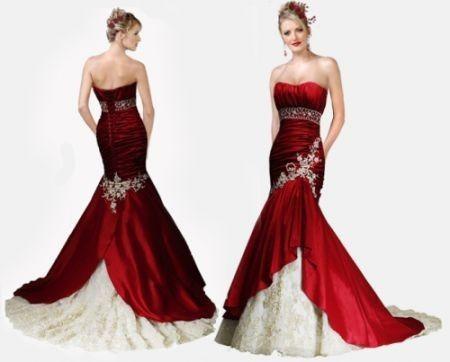 Abiti da sposa in bianco e rosso