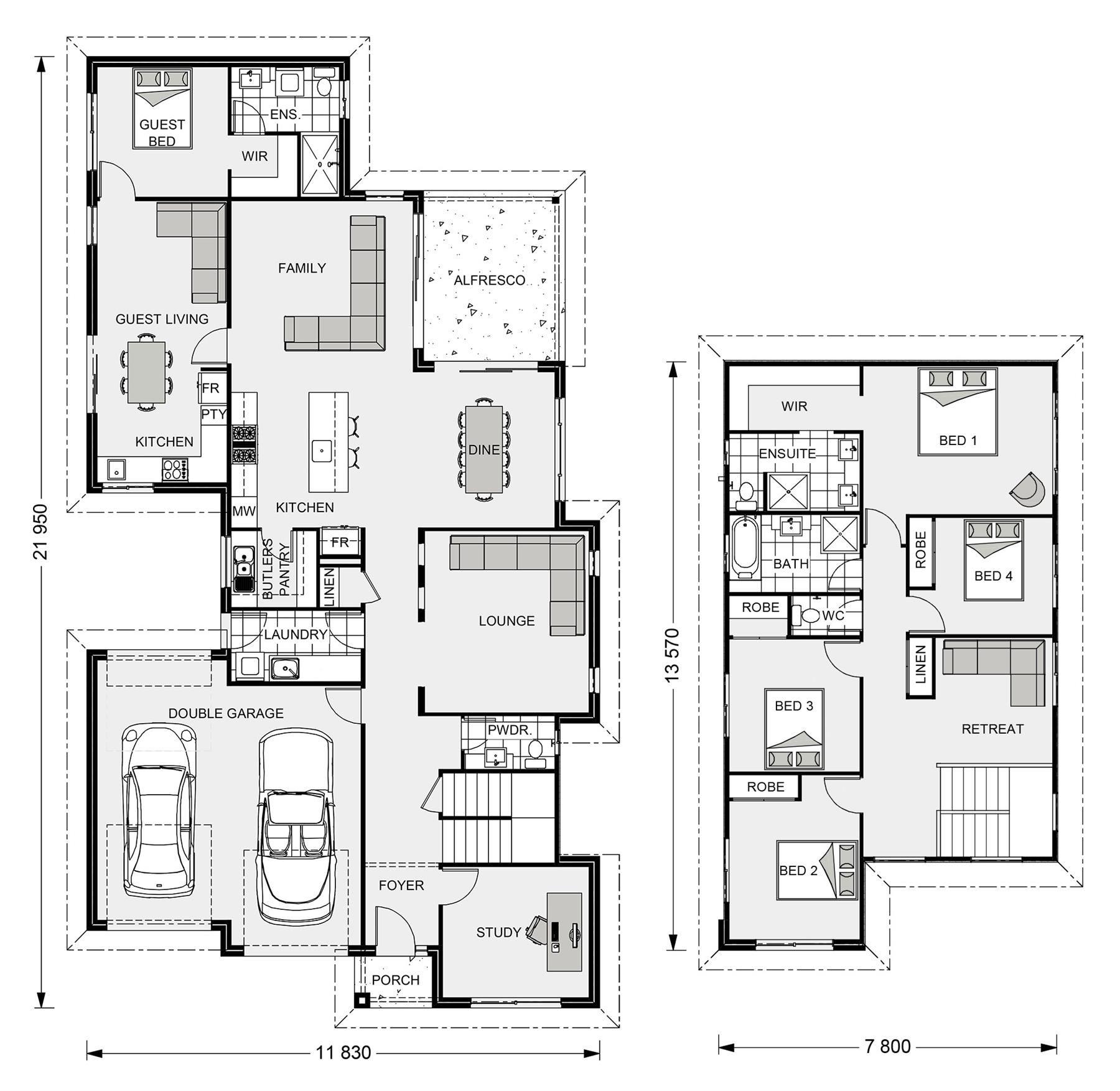Kensington 270 With Granny Flat Design Ideas Home Designs In Newcastle G J Gardner Homes House Design Multigenerational House Plans Floor Plan Design