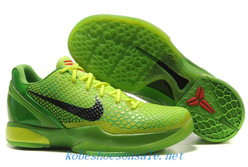innovative design 1324b d07a5 Nike Zoom Kobe 6 Basketball Shoes Grinch Christmas Green Mamba 429659 701