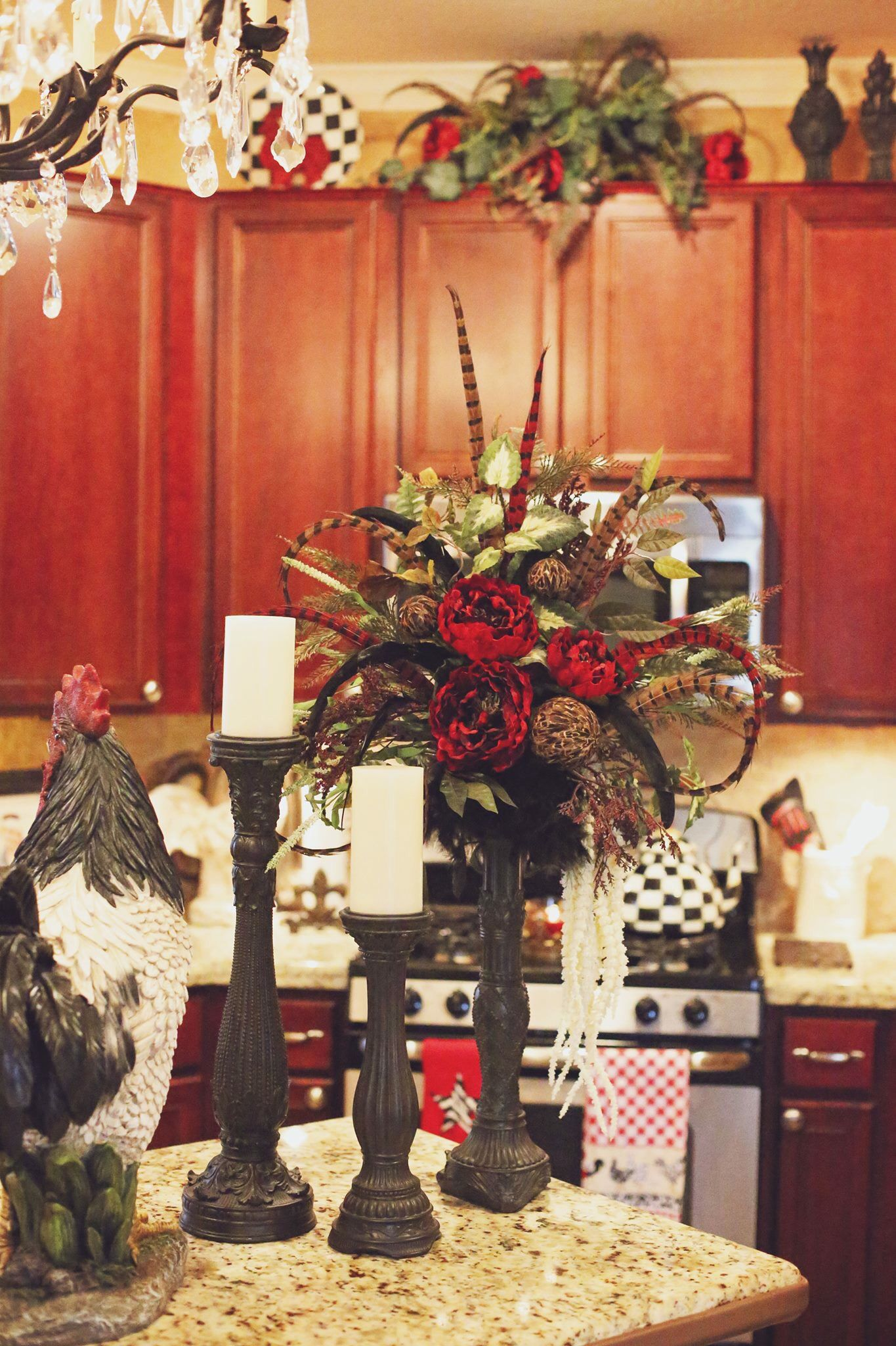 Rooster Kitchen Decor Cheap Tuscan Candle Stick Floral Set Florals Design Interior Diy Designs Old World