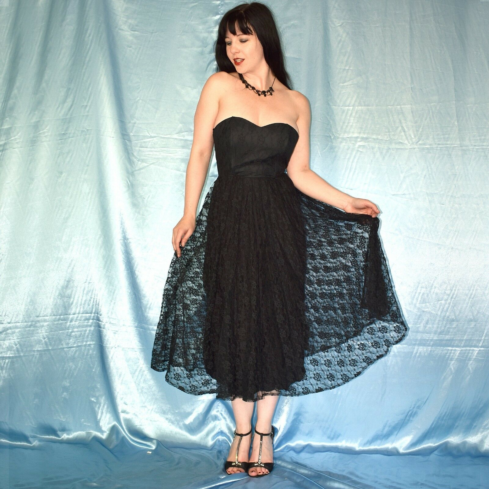 schwarzes GOTHIC SOMMERKLEID XS 12 Spitzen Abendkleid Etuikleid