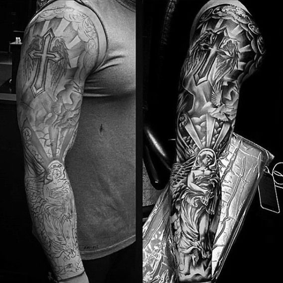 Cool Arm Sleeves Tattoos Spiritual: Fantastic Grey Religious Tattoo Male Sleeves
