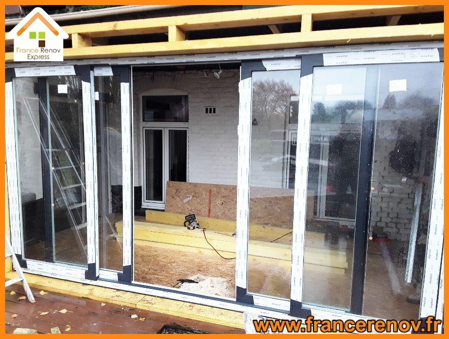 Creation D Une Extension Sur Une Terrasse A Marcq En Baroeul Baie Vitree Pvc Toiture Tuile Extension Maison