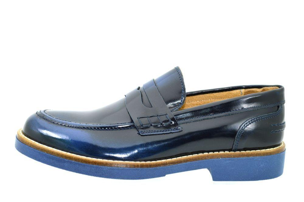 Mocassini uomo artigianali vera pelle blu lucida scarpe uomo classiche  casual 11353ed6dbc