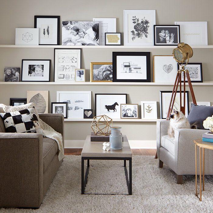 diy floating shelves make arranging and rearranging a breeze evenly disperse larger frames. Black Bedroom Furniture Sets. Home Design Ideas