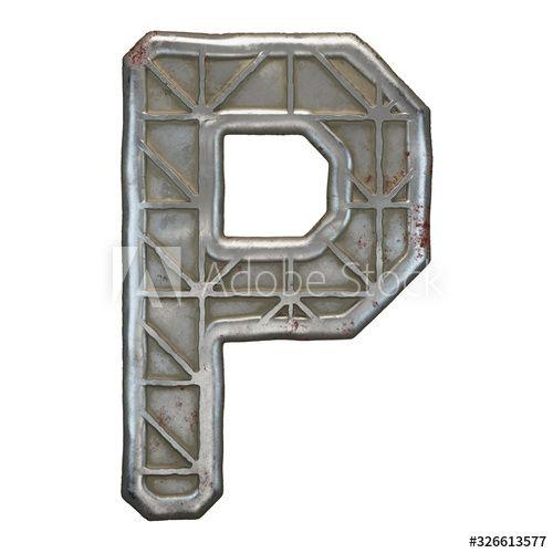 Industrial metal alphabet letter P on white background 3d , #AFFILIATE, #alphabet, #metal, #Industrial, #background, #white #Ad